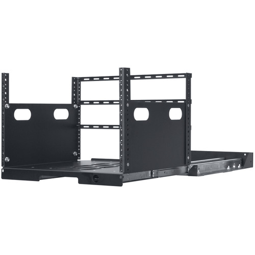 """Lowell Manufacturing Pull-Out Rack with 4-Slides, 7U, 19"""" Deep (Black)"""