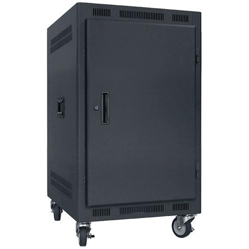 "Lowell Manufacturing Rack-Portable-14U, 22"" Deep, Solid Door (Black)"