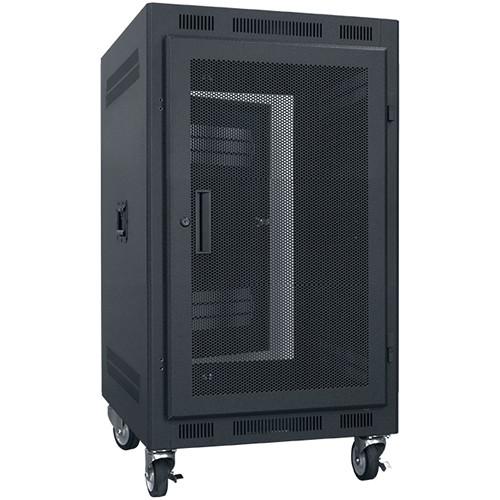 "Lowell Manufacturing Rack-Portable-14U, 22"" Deep, Fully Vented Door (Black)"
