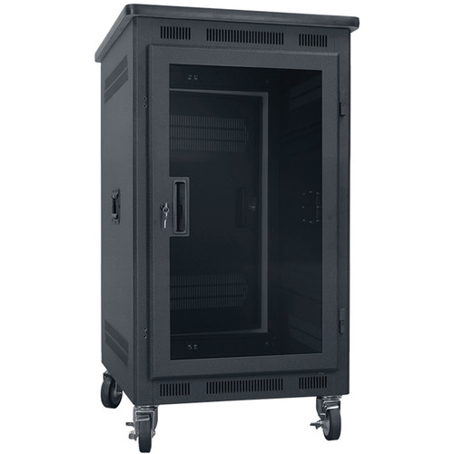 "Lowell Manufacturing Rack-Portable-14U, 22"" Deep, Plexi Door, Graphite Top (Black)"