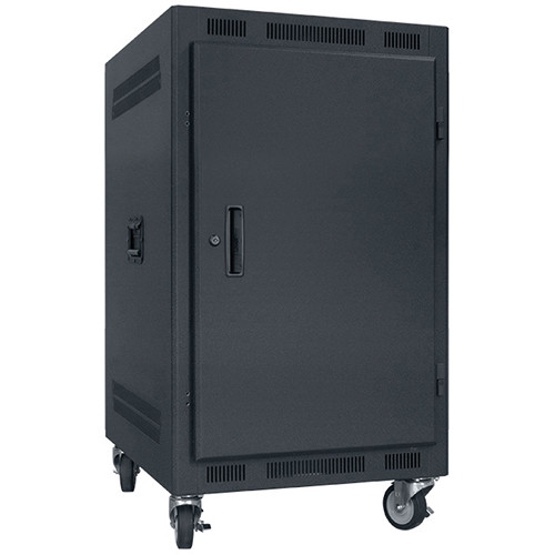 "Lowell Manufacturing Rack-Portable-14U, 27"" Deep, Solid Door (Black)"