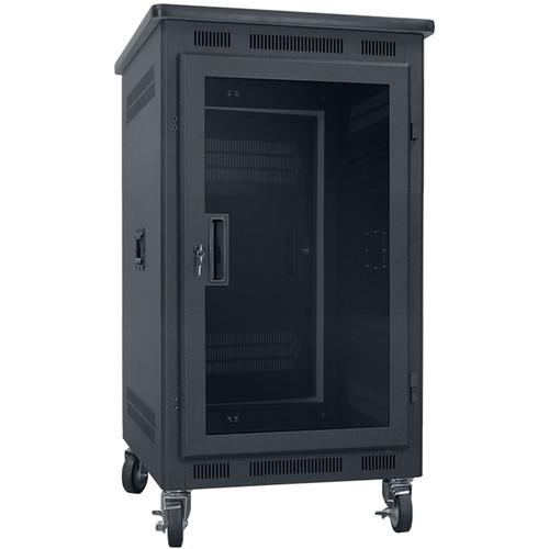 "Lowell Manufacturing Rack-Portable-14U, 27"" Deep, Plexi Door, Graphite Top (Black)"