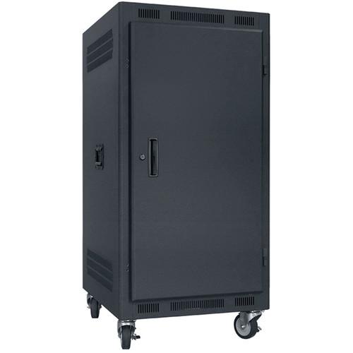 "Lowell Manufacturing Rack-Portable-21U, 22"" Deep, Solid Door (Black)"