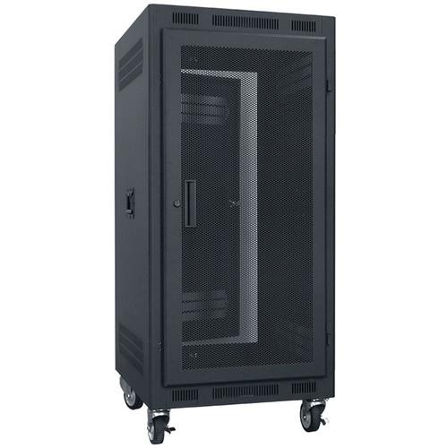 "Lowell Manufacturing Rack-Portable-21U, 22"" Deep, Fully Vented Door (Black)"