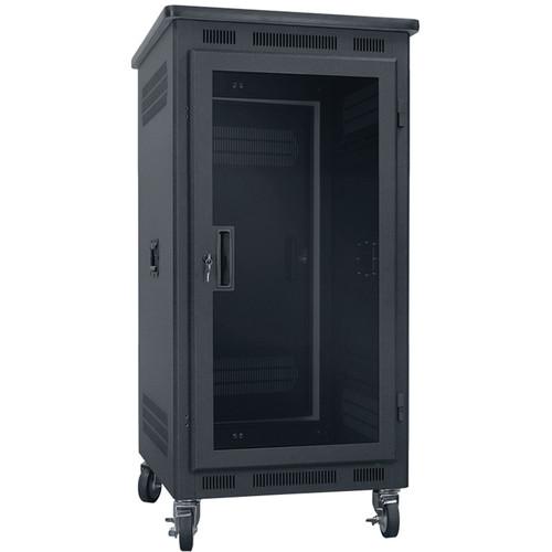 "Lowell Manufacturing Rack-Portable-21U, 22"" Deep, Plexi Door, Graphite Top (Black)"