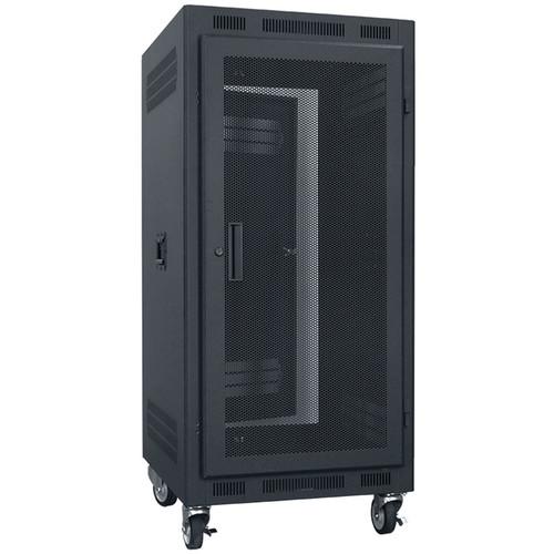 "Lowell Manufacturing Rack-Portable-21U, 27"" Deep, Fully Vented Door (Black)"