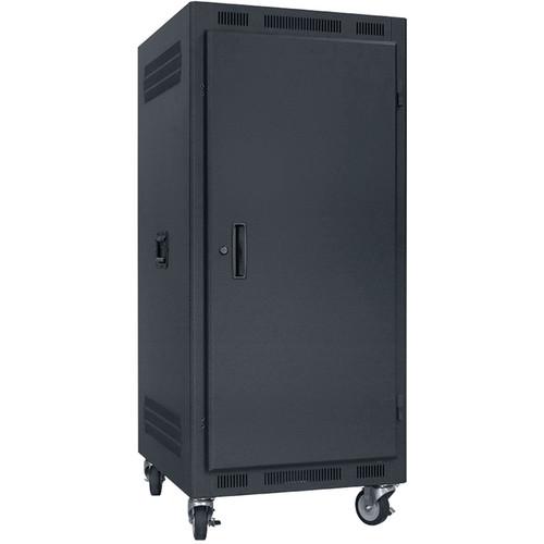"Lowell Manufacturing Rack-Portable-24U, 27"" Deep, Solid Door (Black)"