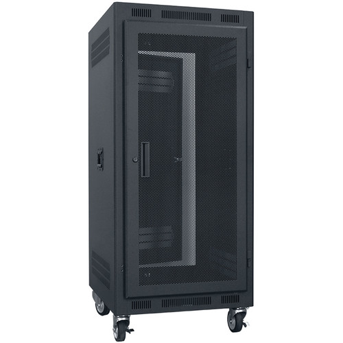 "Lowell Manufacturing Rack-Portable-24U, 27"" Deep, Fully Vented Door (Black)"