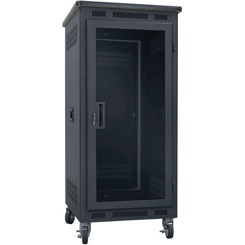 "Lowell Manufacturing Rack-Portable-24U, 27"" Deep, Plexi Door, Graphite Top (Black)"