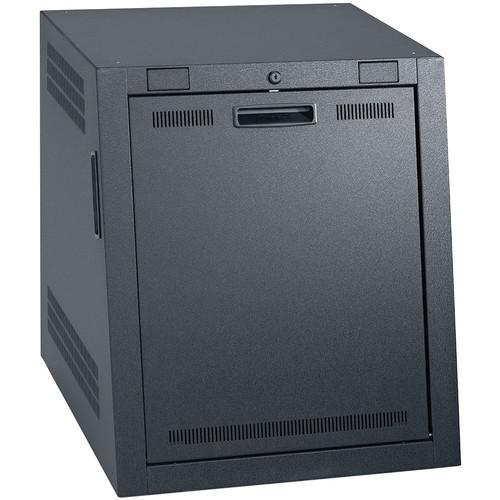 "Lowell Manufacturing Rack-Portable Sloped-12U,25.5"" Deep, 1-Pair Fixed Rails (Black)"