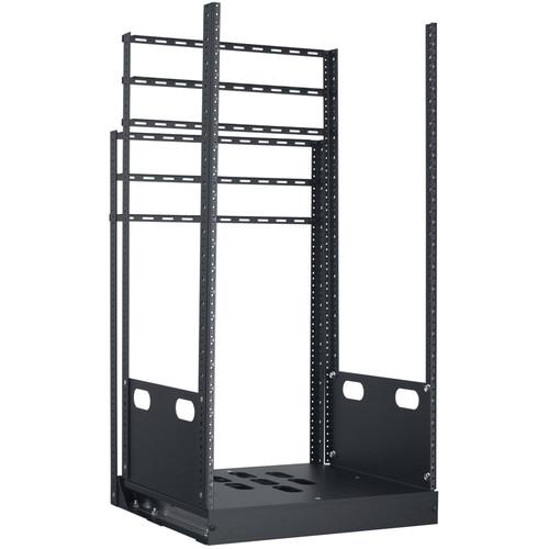 "Lowell Manufacturing Rack-Pull And Turn System-21U, 4-Slides, 23"" Deep (Black)"