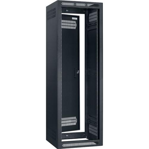 "Lowell Manufacturing Rack-Seismic-35U/27"" Deep, 1-Pair Adustable Rails, Rear Door (Black)"