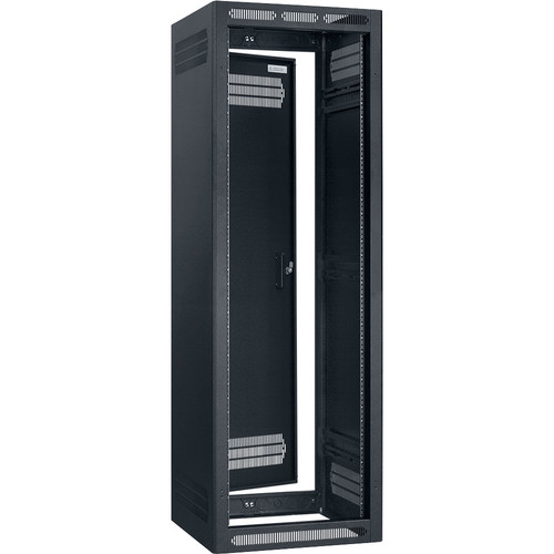 "Lowell Manufacturing Rack-Seismic-35U/32"" Deep, 2-Pair Adustable Rails, Rear Door (Black)"