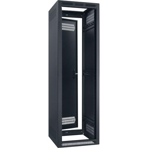 "Lowell Manufacturing Rack-Seismic-40U/27"" Deep, 1-Pair Adustable Rails, Rear Door (Black)"