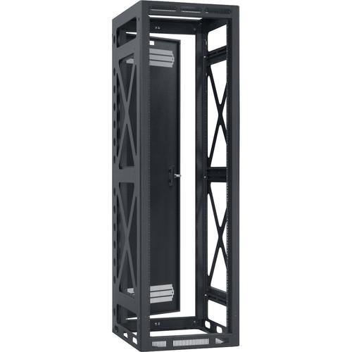 "Lowell Manufacturing Rack-Seismic-40U/27"" Deep, 2-Pair Rails, Rear Door (Black)"
