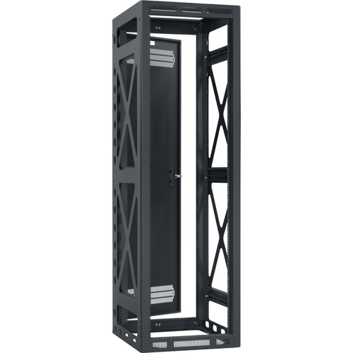 "Lowell Manufacturing Rack-Seismic-40U/32"" Deep, 2-Pair Rails, Rear Door (Black)"