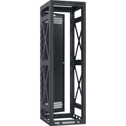 "Lowell Manufacturing Rack-Seismic-40U/36"" Deep, 2-Pair Rails, Rear Door (Black)"