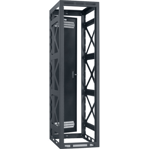 "Lowell Manufacturing Rack-Seismic-44U/27"" Deep, 2-Pair Rails, Rear Door (Black)"