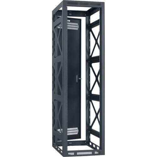 Lowell Manufacturing Rack-Seismic-44U, 32' Deep, 2-Pair Rails, Rear Door (Black)