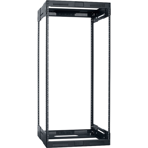 """Lowell Manufacturing Rack-Variable Depth - 22U, Expands from 14 - 21"""" Deep (Black)"""