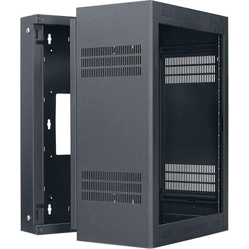 "Lowell Manufacturing Rack-Sectional Wall Mount-16U, 19"" Deep, 1-Pair Adjustable Rails (Black)"