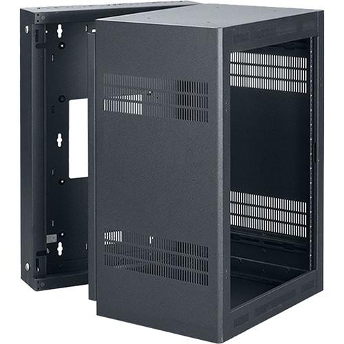 "Lowell Manufacturing Rack-Sectional Wall Mount-16U, 32"" Deep, 1-Pair Adjustable Rails (Black)"