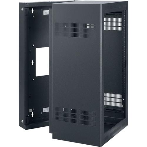 "Lowell Manufacturing Rack-Sectional Wall Mount-21U, 23"" Deep, 1-Pair Adjustable Rails (Black)"