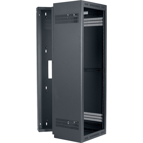 "Lowell Manufacturing Rack-Sectional Wall Mount-35U, 19"" Deep, 1-Pair Adjustable Rails (Black)"