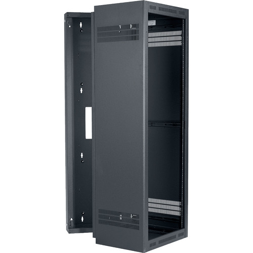 "Lowell Manufacturing Rack-Sectional Wall Mount-35U, 23"" Deep, 1-Pair Adjustable Rails (Black)"