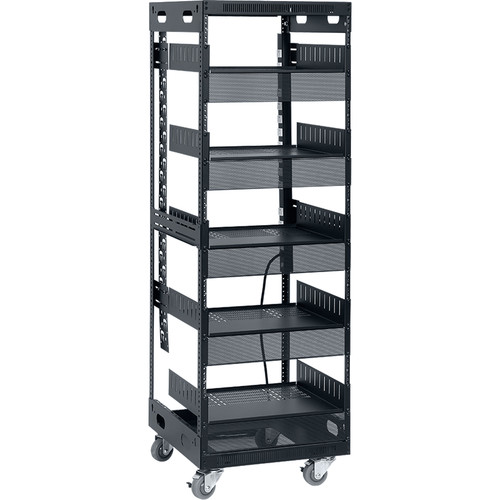 """Lowell Manufacturing LXR 30U, 21""""Deep Assembled Slim Rack with Accessories (Includes Power Strip with 12-15A Outlets)"""