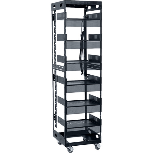 """Lowell Manufacturing LXR 38U, 21""""Deep Assembled Slim Rack with Accessories (Includes Power Strip with 12-15A Outlets)"""