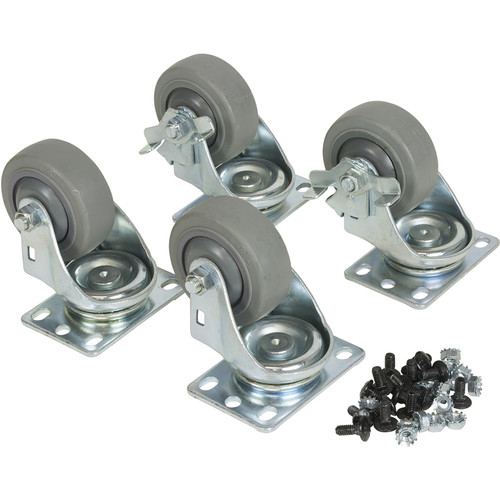 Lowell Manufacturing Fine-Floor Swivel Casters for LXR/LVR Racks(1-Pair Fine Swivel, and 1-Fine Swivel-Locking)