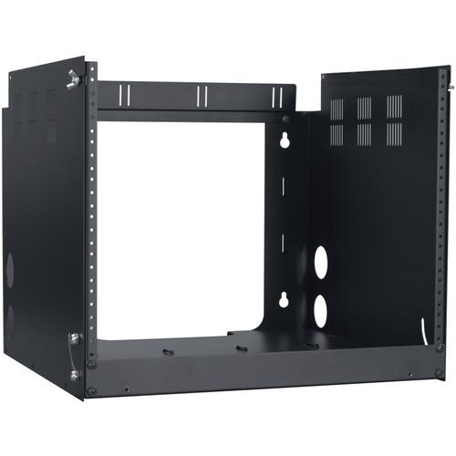 "Lowell Manufacturing Pivot Frame Wall Rack - 8U, 18"" Deep - 1-Pair Fixed Rails (Black)"