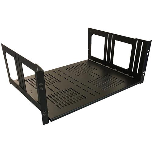 "Lowell Manufacturing Rack Kit Hinged Shelf - 4U, 14"" Deep (No Face Plate)"