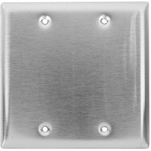 Lowell Manufacturing Wall Plate-Stainless Steel, 2-Gang, Blank