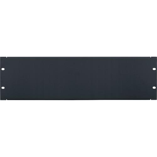 Lowell Manufacturing Rack Panel-Blank-3U, 18-Gauge Flanged Steel (Black)