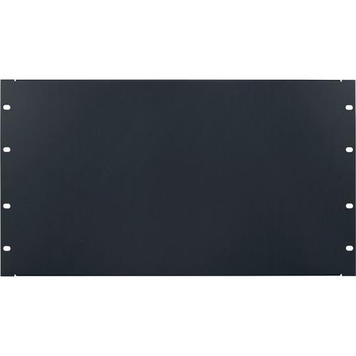 Lowell Manufacturing Rack Panel-Blank-6U, 18-Gauge Flanged Steel (Black)