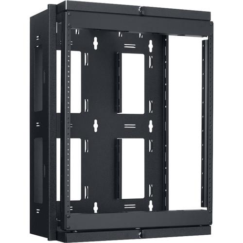 "Lowell Manufacturing Rack-Swing Gate-Open Side-12U - 13"" Deep, 1-Pair  Fixed Rails (Black)"