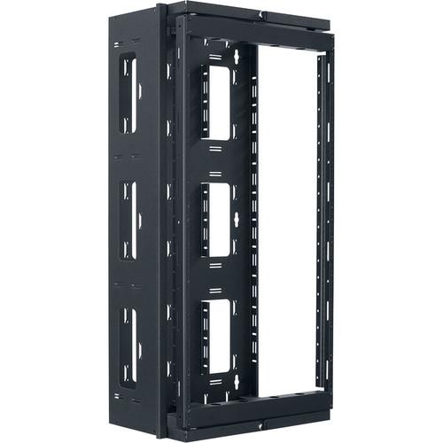 "Lowell Manufacturing Rack-Swing Gate-Open Side-20U, 13"" Deep, 1-Pair  Fixed Rails (Black)"