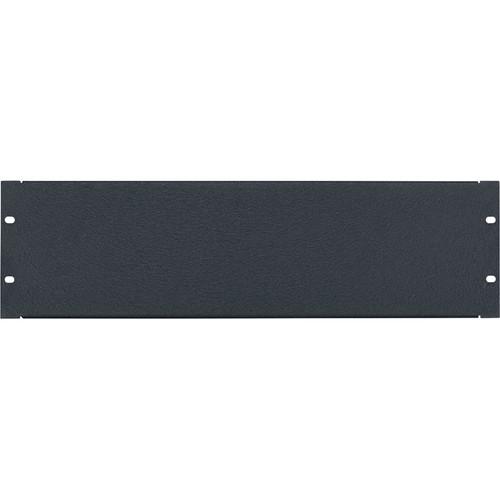 Lowell Manufacturing Rack Panel-Blank-3U, 16-Gauge Flanged Steel (Textured Black)