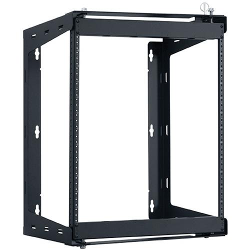 "Lowell Manufacturing Rack-Swing Gate-12U, 24""Deep, 1-Pair  Fixed Rails (Black)"