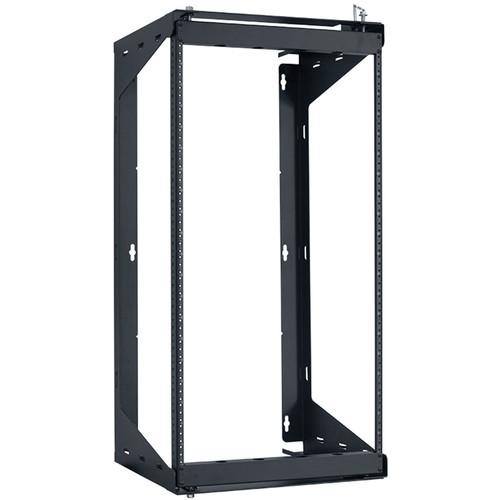 "Lowell Manufacturing Rack-Swing Gate-20U, 24""Deep, 1-Pair  Fixed Rails (Black)"