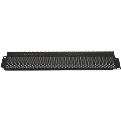 Lowell Manufacturing Rack Panel-Security Cover-2U, 18-Gauge Flanged Steel/Vented (Black)