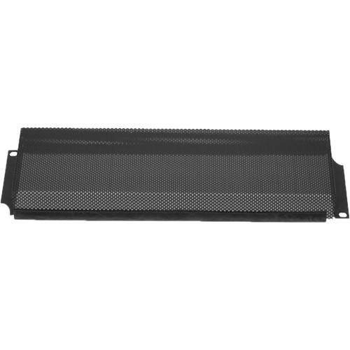 Lowell Manufacturing Rack Panel-Security Cover-3U, 18-Gauge Flanged Steel/Vented (Black)