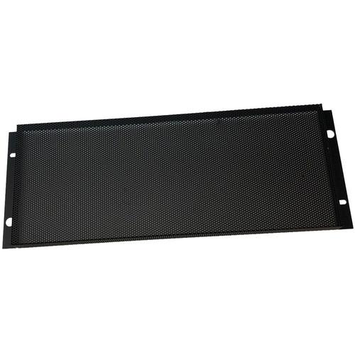Lowell Manufacturing Rack Panel-Security Cover-4U, 18-Gauge Flanged Steel/Vented (Black)