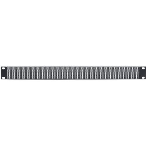 Lowell Manufacturing Rack Panel-Vented-1U, 18-Gauge Flanged Perforated Steel, 12-Pack (Black)