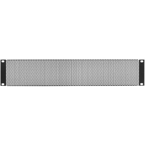 Lowell Manufacturing Rack Panel-Vented-2U, 18-Gauge Flanged Perforated Steel (Large Hole) (Black)