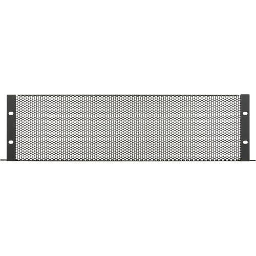 Lowell Manufacturing Rack Panel-Vented-3U, 18-Gauge Flanged Perforated Steel (Large Hole) (Black)