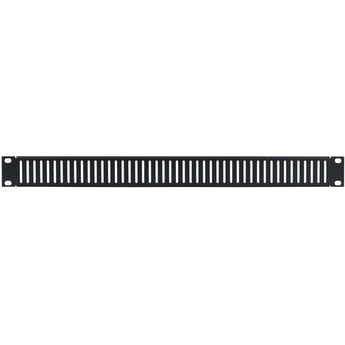 Lowell Manufacturing Rack Panel-Vented-1U, 18-Gauge Flanged Slotted Steel, 12-Pack (Black)