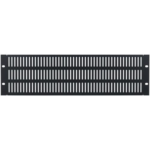 Lowell Manufacturing Rack Panel-Vented-3U, 18-Gauge Flanged Slotted Stee (Black)